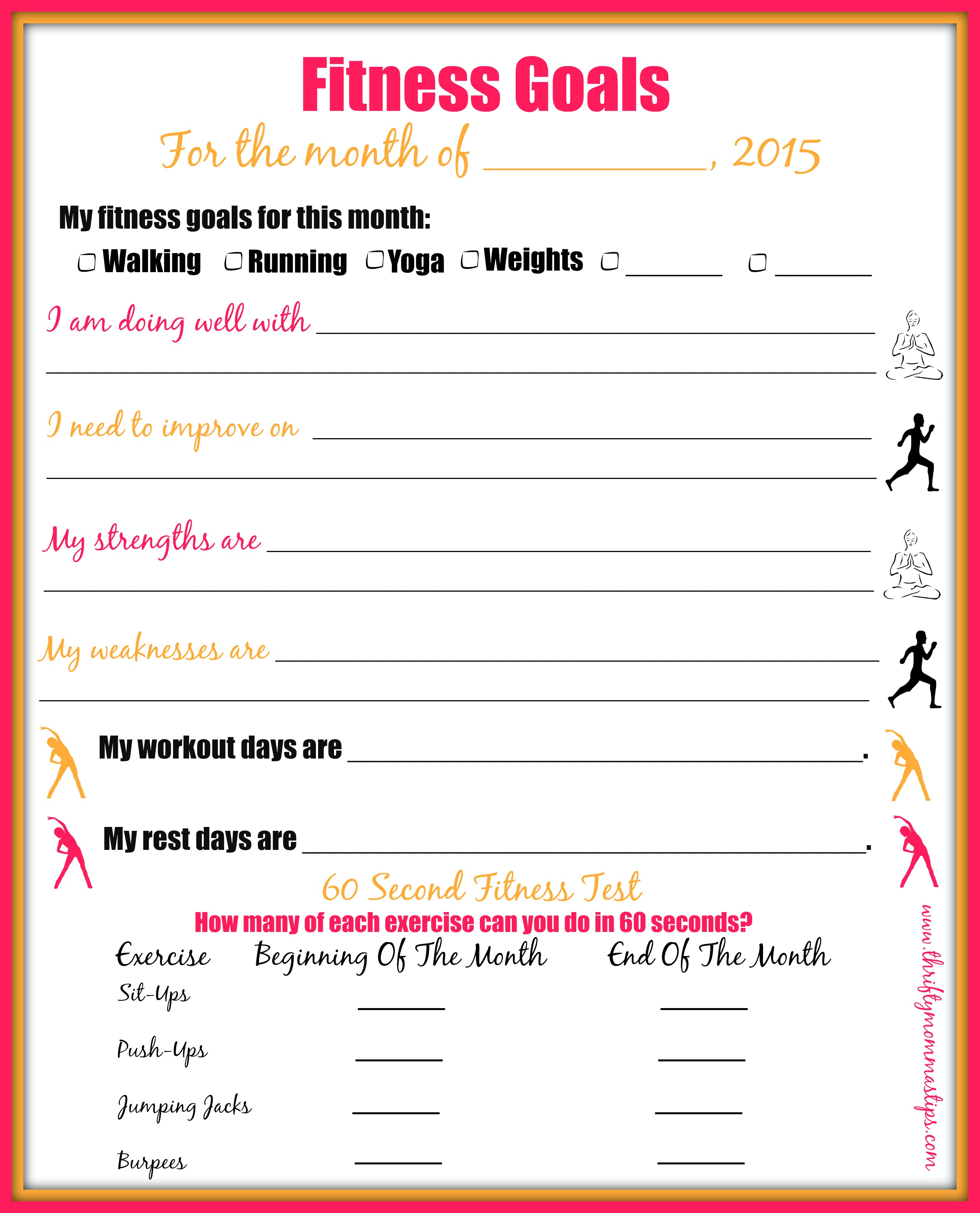 Worksheets Fitness Goals Worksheet workout goals sheet guiler ions setting fitness smart goal