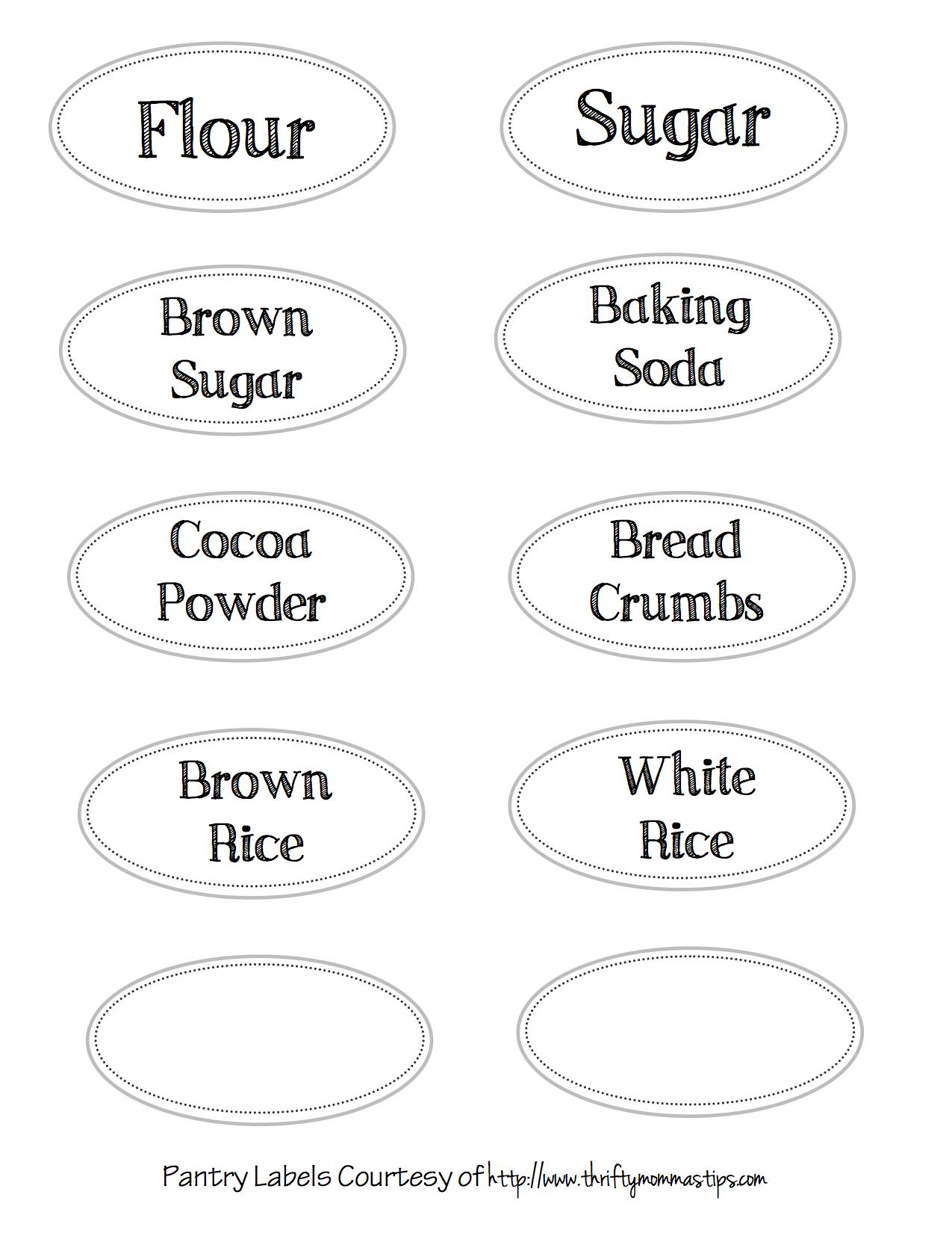 Pantry Labels Printable