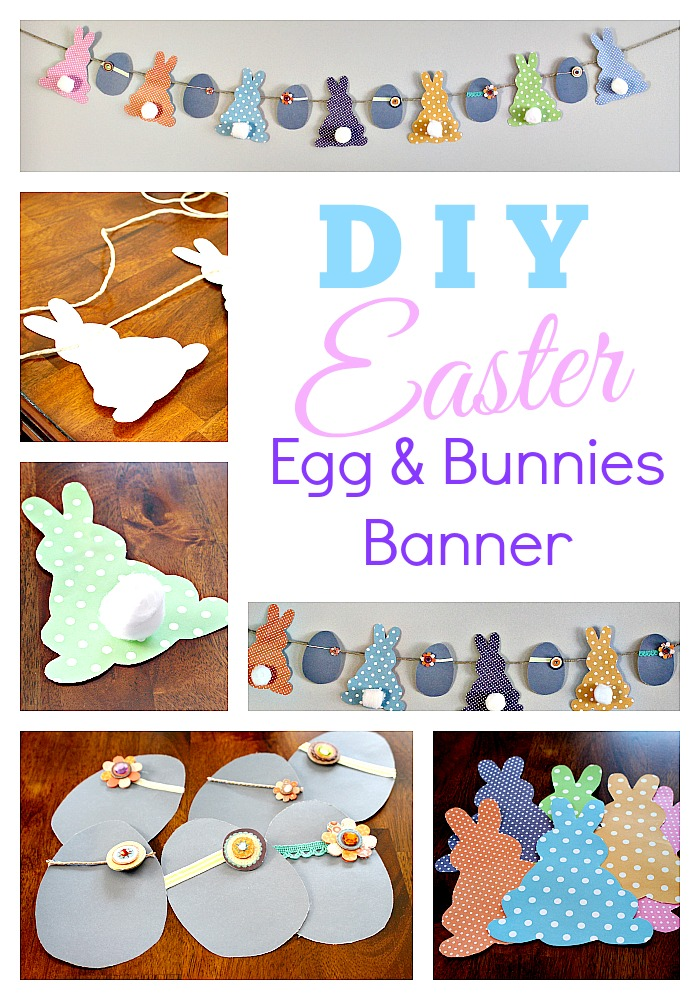DIY Easter eggs and bunnies banner
