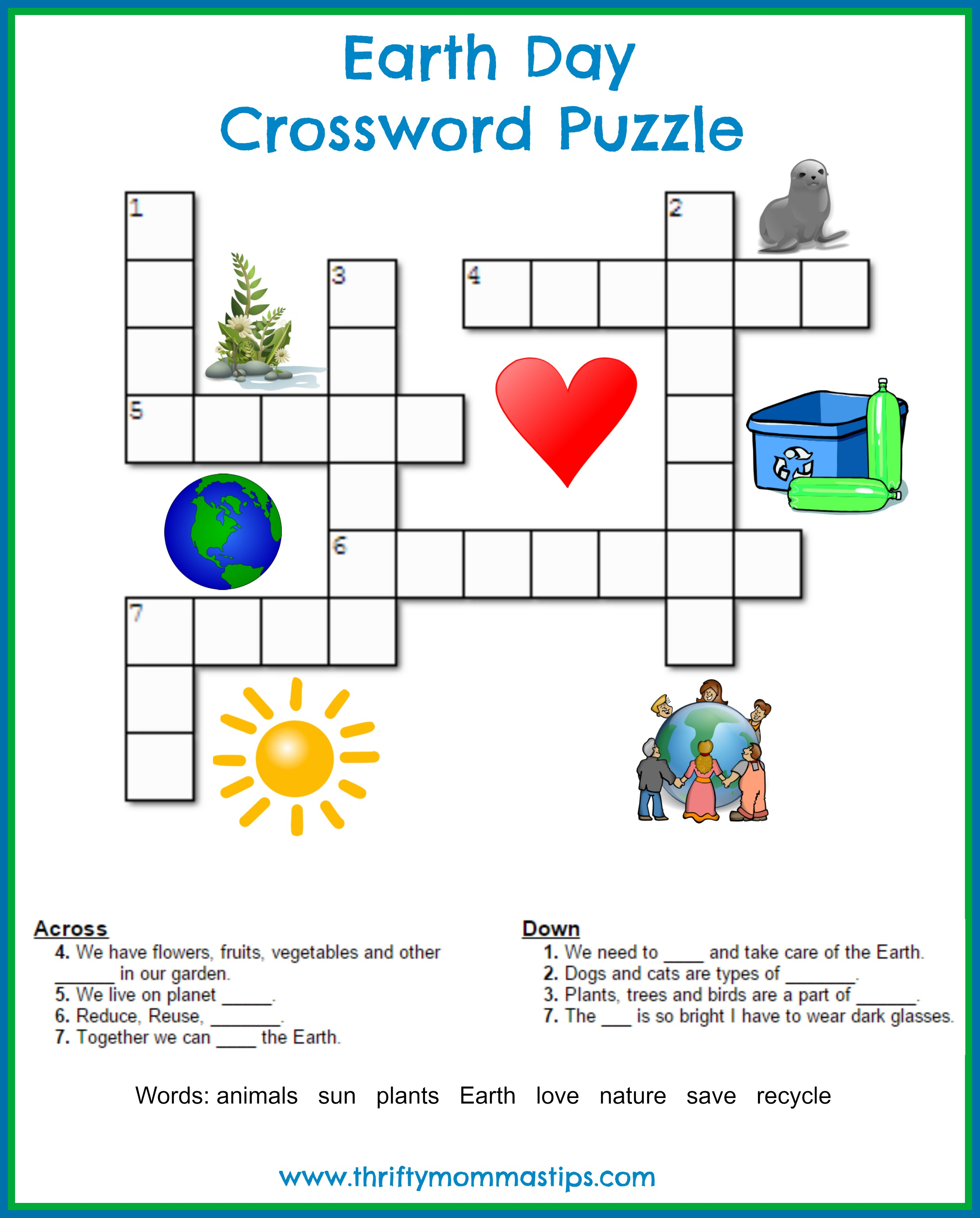earth day crossword puzzle thrifty mommas tips. Black Bedroom Furniture Sets. Home Design Ideas