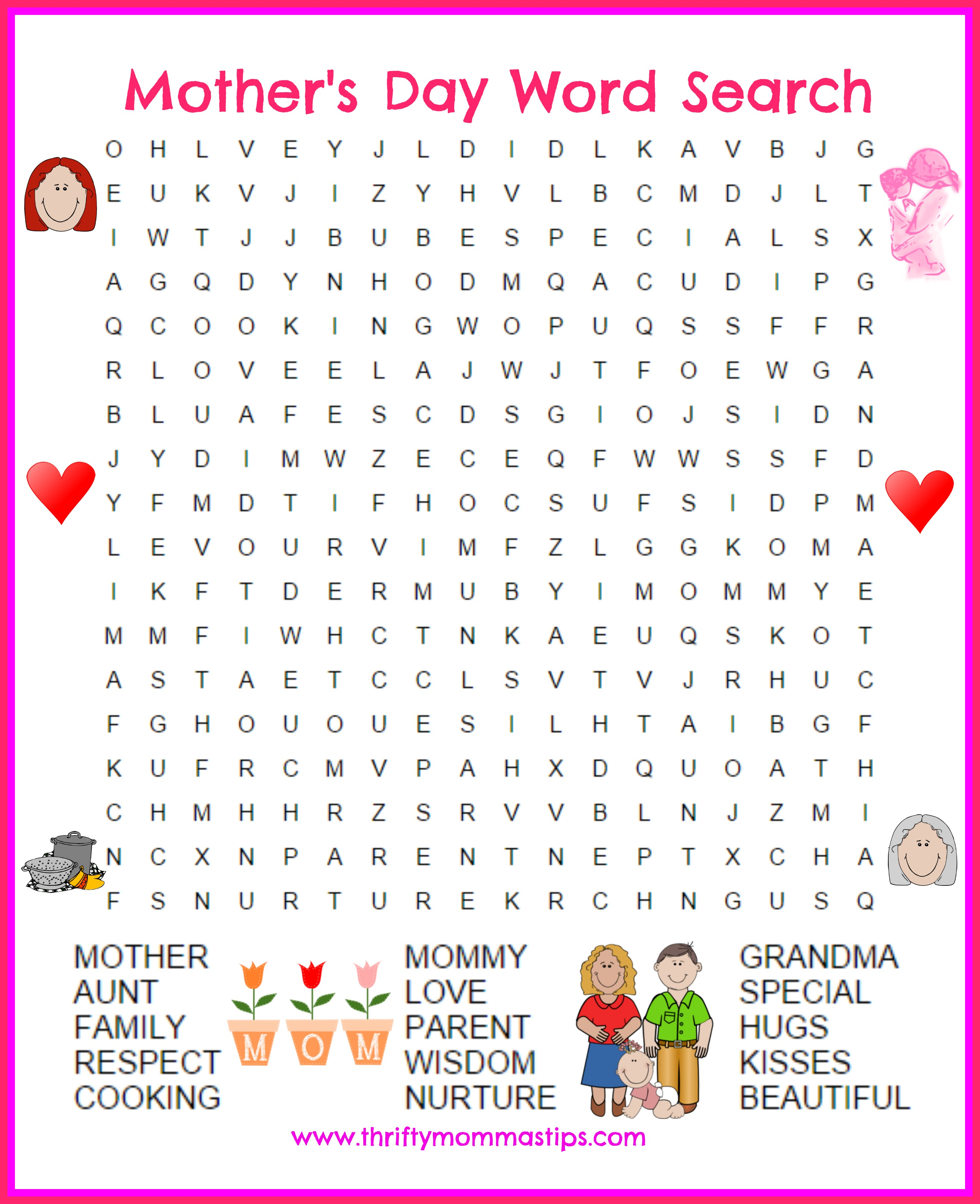 Mother's Day Word Search Printable Activity Sheet Kids Making Bed