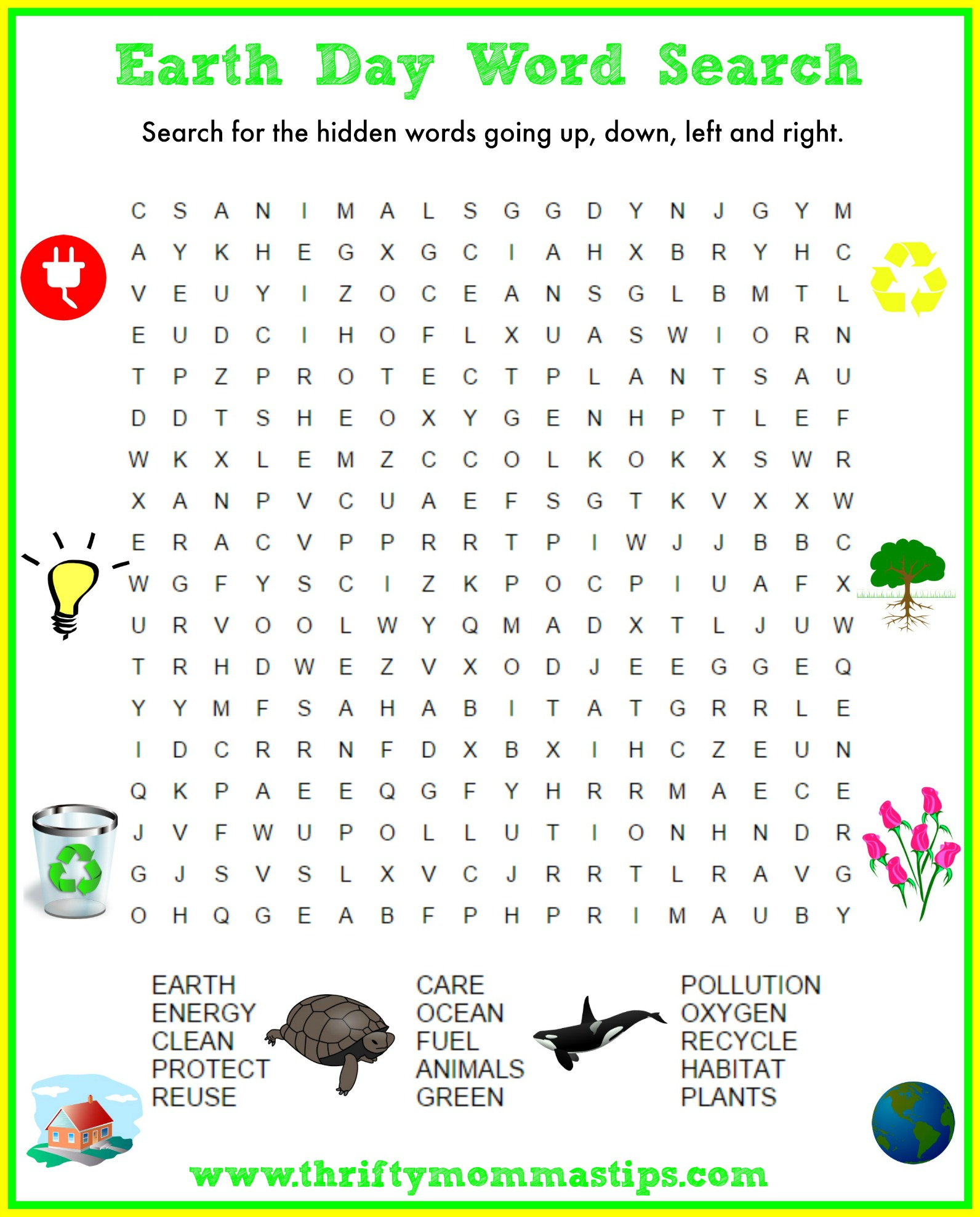 Support the Earth, Earth Day Word Search Puzzle Answers Free ...