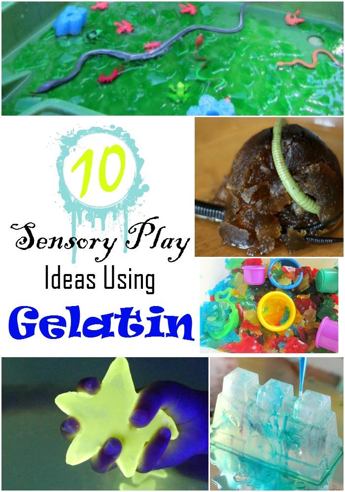 sensory play with gelatin