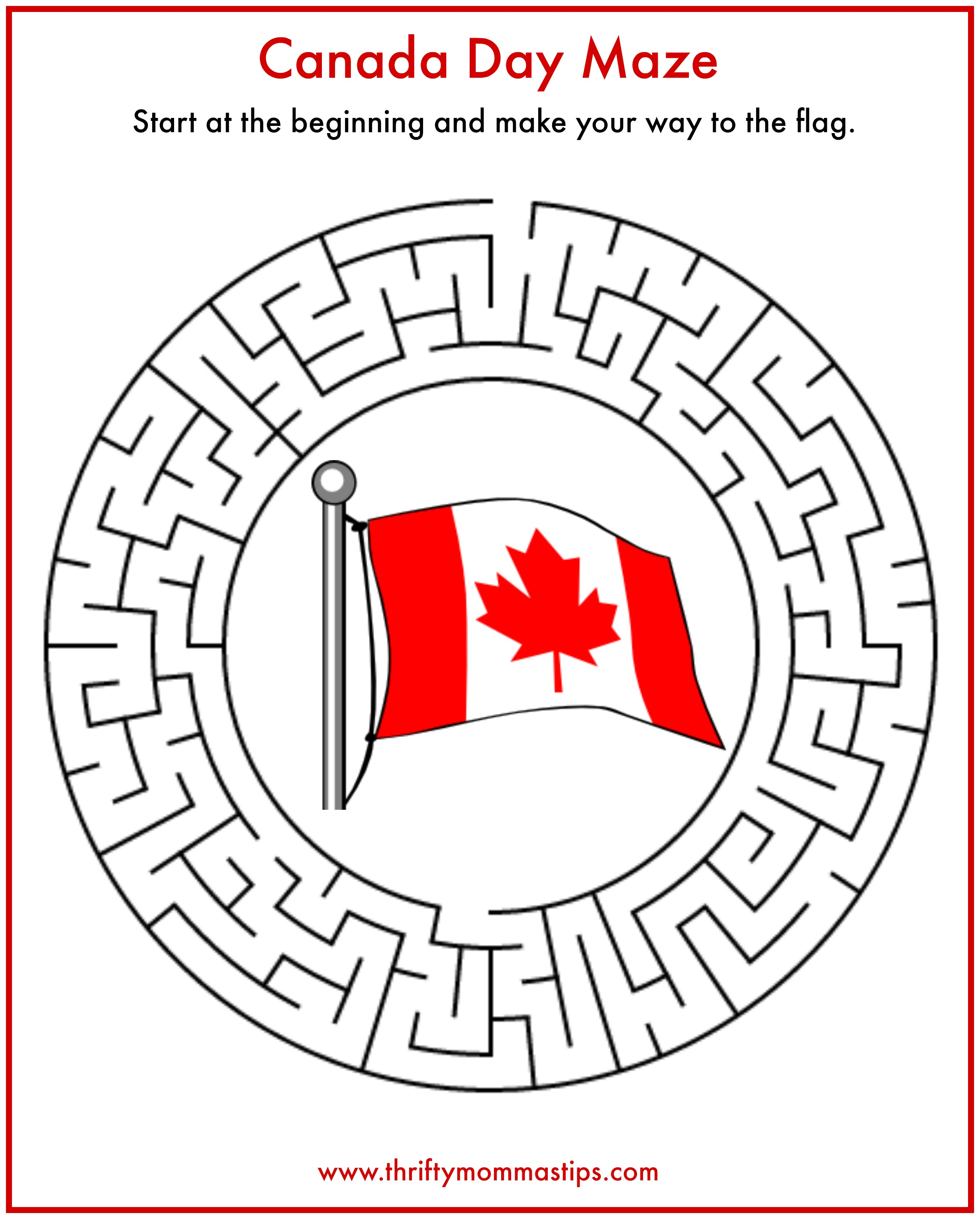 Canada Day Maze Printable on Pictures On My Family Worksheets For Kindergarten Easy
