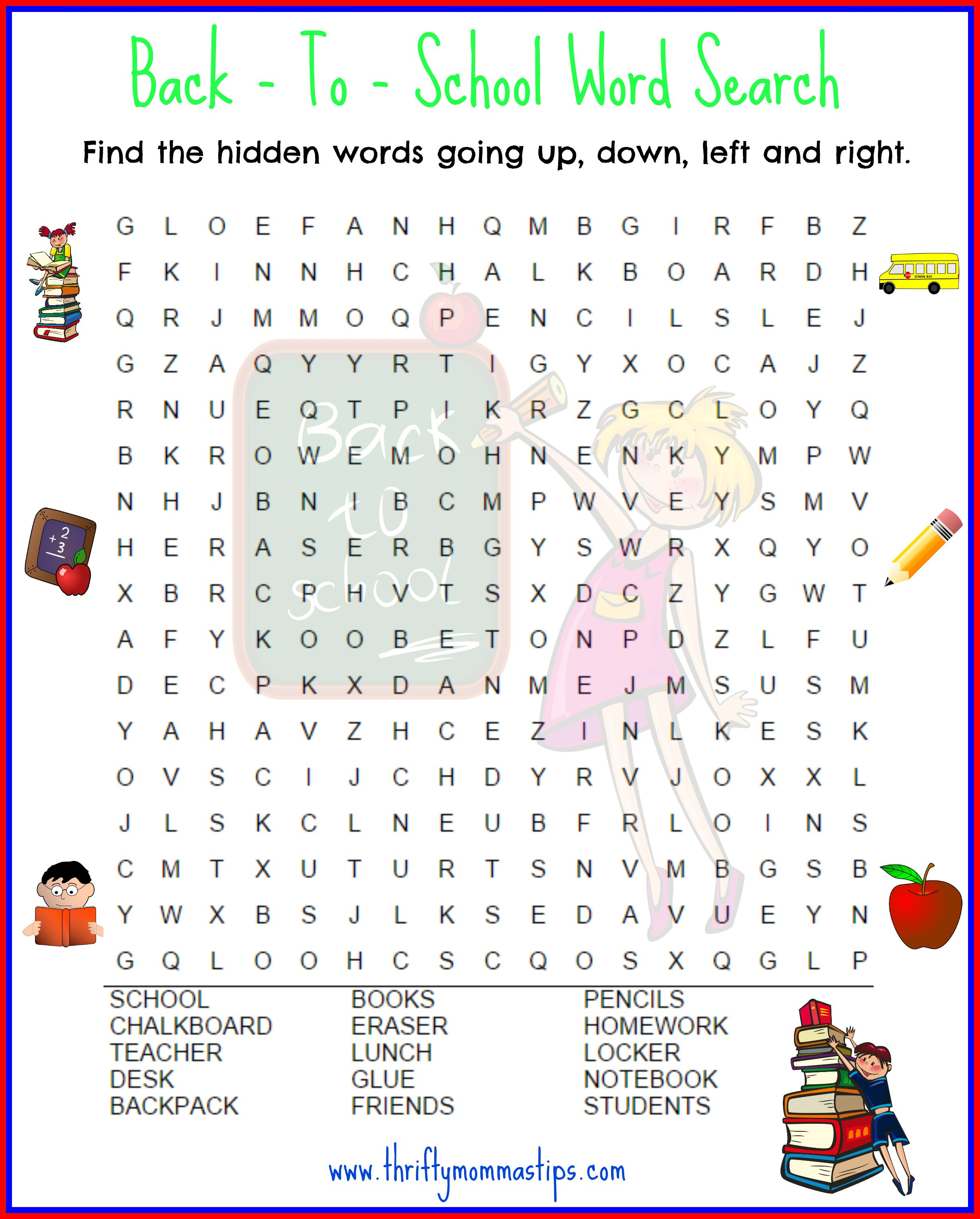 Back to School Word Search #BTS