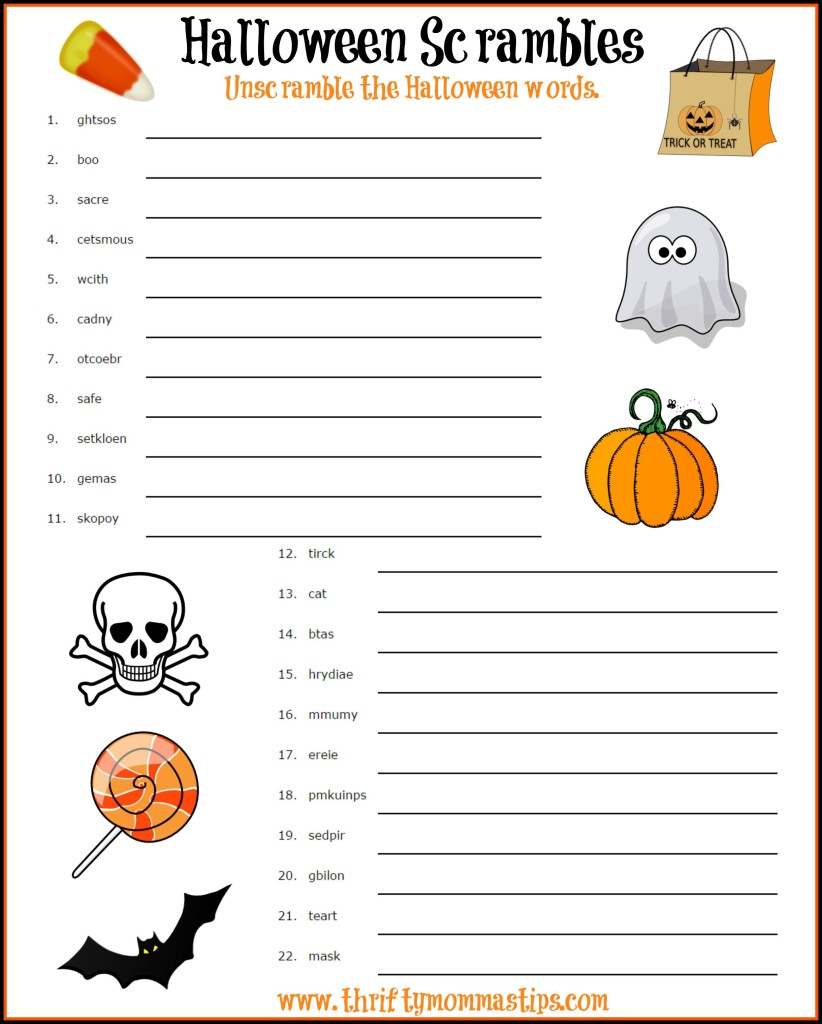 fun halloween word scramble thrifty mommas tips