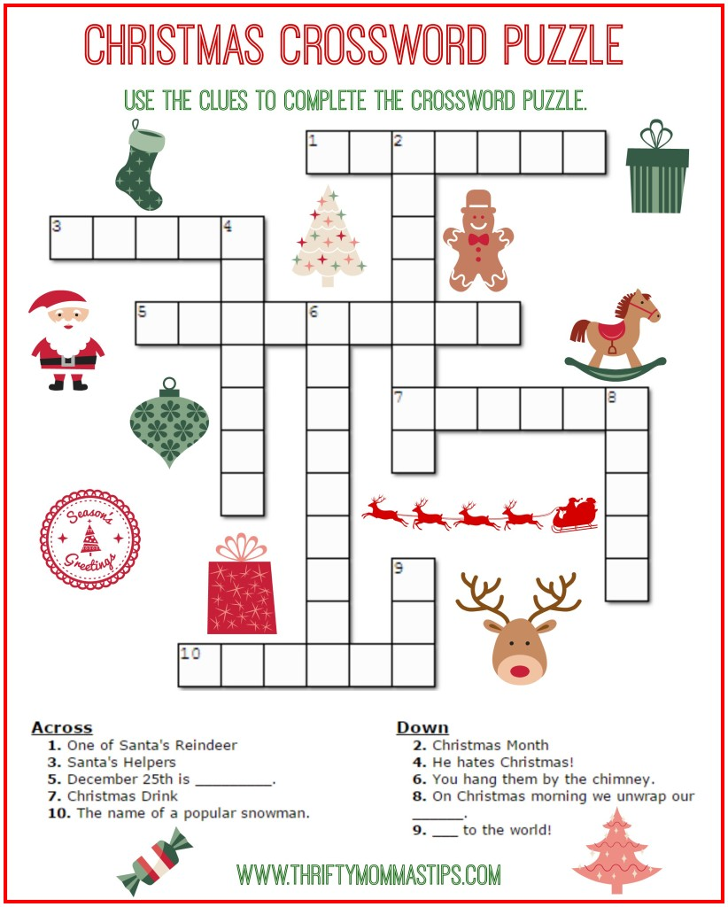 photo regarding Fun Crossword Puzzles Printable referred to as Xmas Crossword Puzzle Printable - Thrifty Mommas Rules