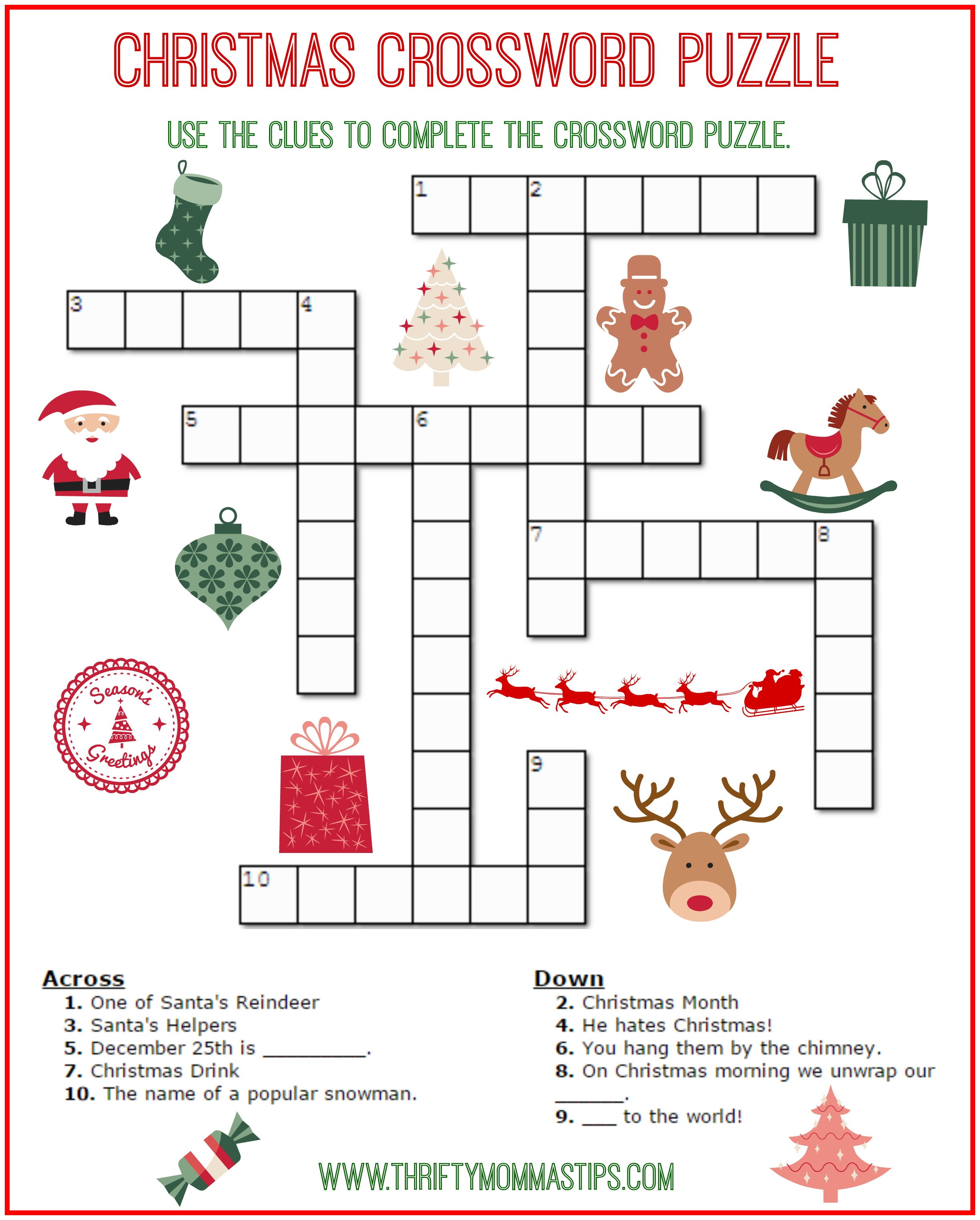 christmas crossword puzzle printable thrifty momma 39 s tips. Black Bedroom Furniture Sets. Home Design Ideas