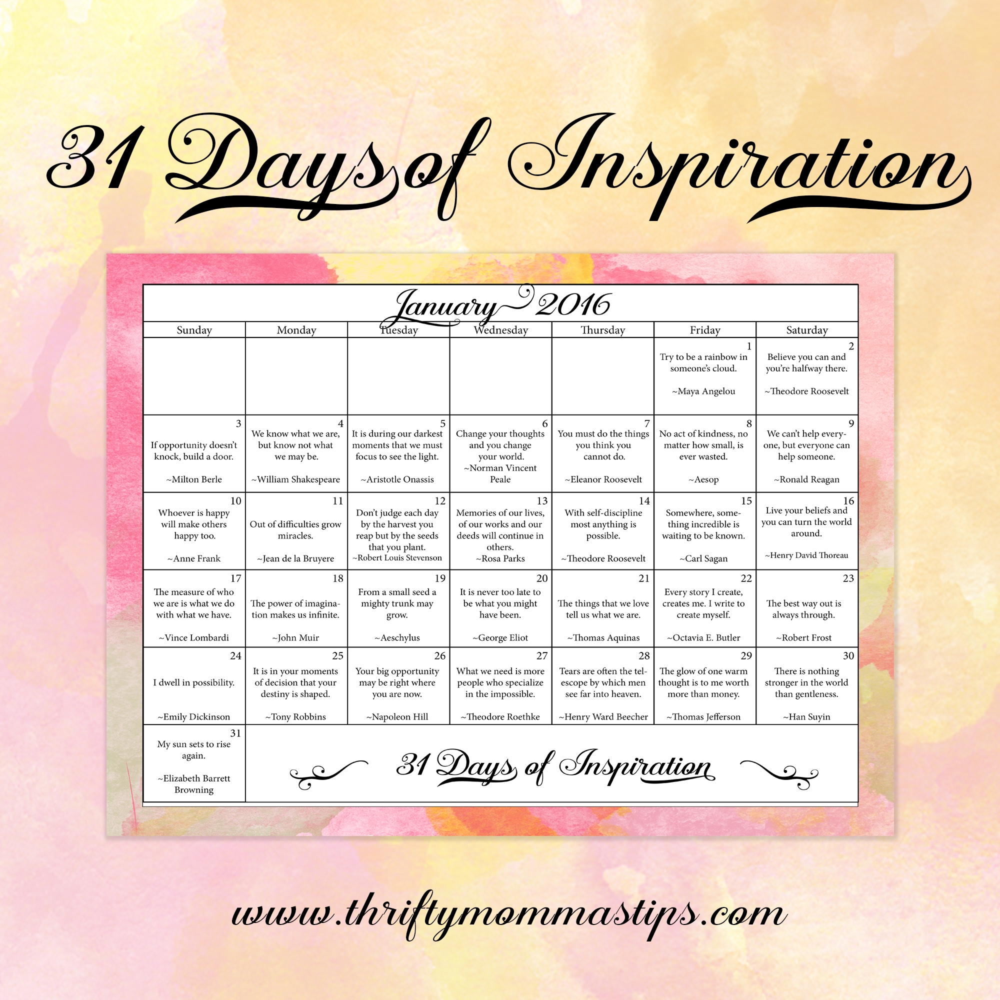 January inspirational calendar