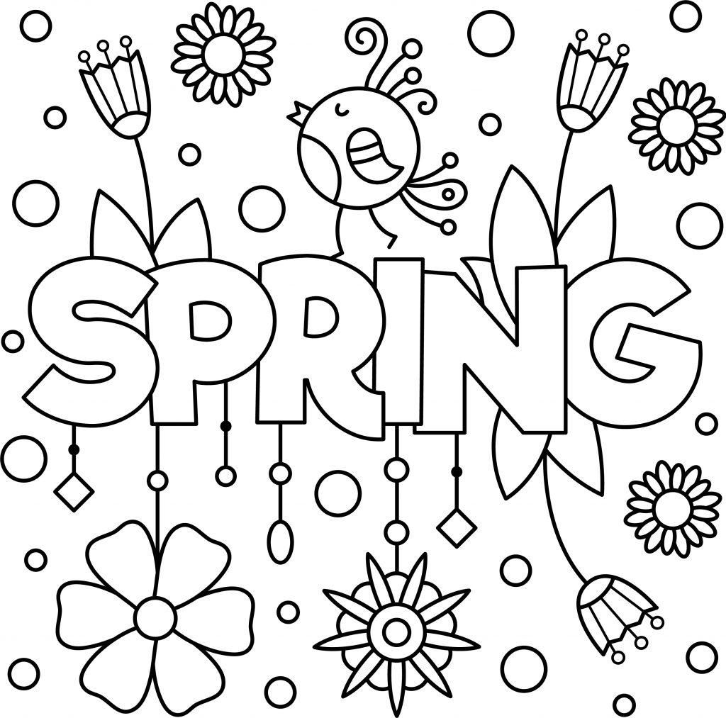 Fun Spring Colouring Page Printable