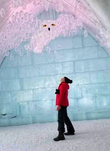 hotel_de_glace_sculpture_owl_suspended_from_ceiling_woman_bright_red_coat_peering_up