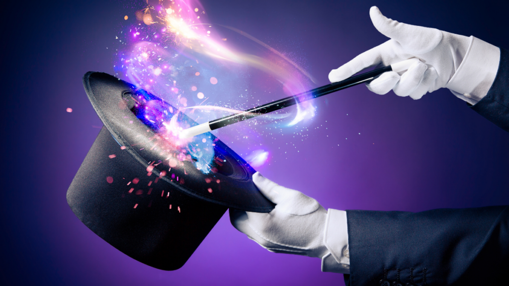 magician on purple background with white gloves waving a wand over a top hat with magical sparks swirling out of it